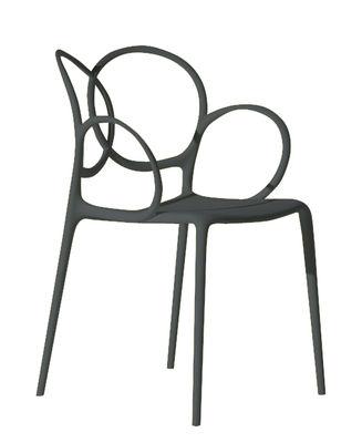 Möbel - Stühle  - Sissi Stapelbarer Sessel outdoorgeeignet - Driade - Dunkelgrau - Glasfaser, Polyäthylen, Polypropylen