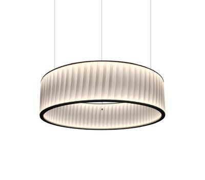 Suspension Ronde / LED double flux - Ø 60 cm - Dix Heures Dix blanc en métal/tissu