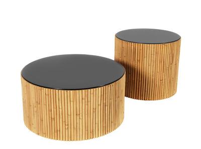 Table basse Riviera Duo Set de 2 Ø 60 Ø 45 cm Maison Sarah Lavoine rotin naturel,radis noir en bois