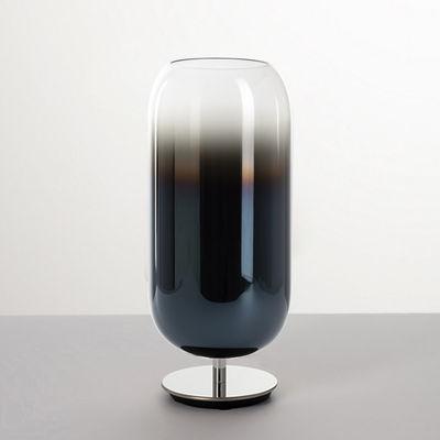 Lighting - Table Lamps - Gople Table lamp - / Glass - H 48.5 cm by Artemide - Sapphire Blue / Chromed leg - Aluminium, Metallized blown glass