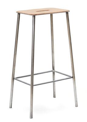 Mobilier - Tabourets de bar - Tabouret haut Adam Cuir / H 76 cm - Indoor - Frama  - H 76 cm / Cuir beige & acier - Acier, Cuir