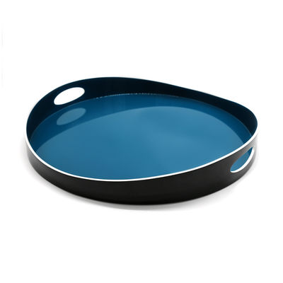 Tableware - Trays and serving dishes - Basile Large Tray - / Wood - Ø 50 cm by Maison Sarah Lavoine - Sarah blue - Lacquered bamboo