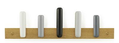 Furniture - Coat Racks & Pegs - Play Wall coat rack - 5 hook by Normann Copenhagen - Grey / Natural oak - Oak