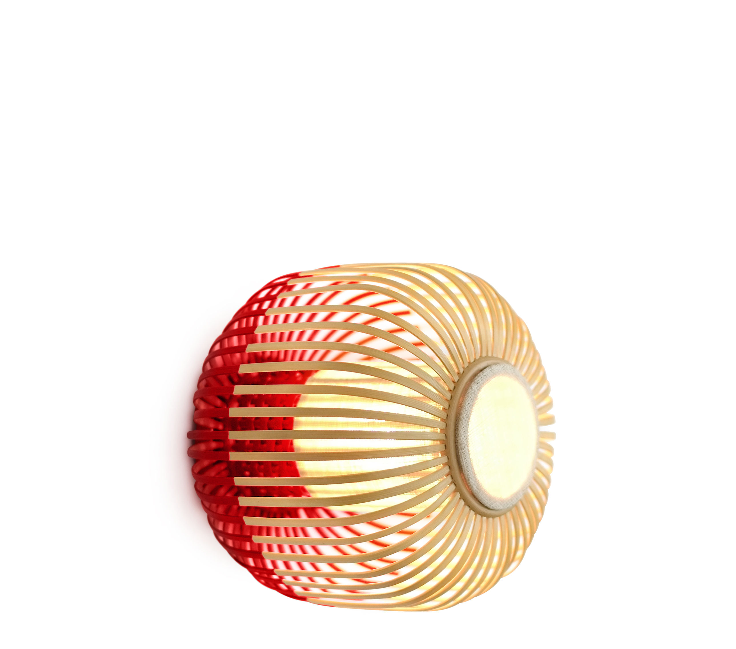 Lighting - Wall Lights - Bamboo light XS Wall light - Ceiling lamp - Ø 27 x H 20 cm by Forestier - Red / Natural - Fabric, Natural bamboo