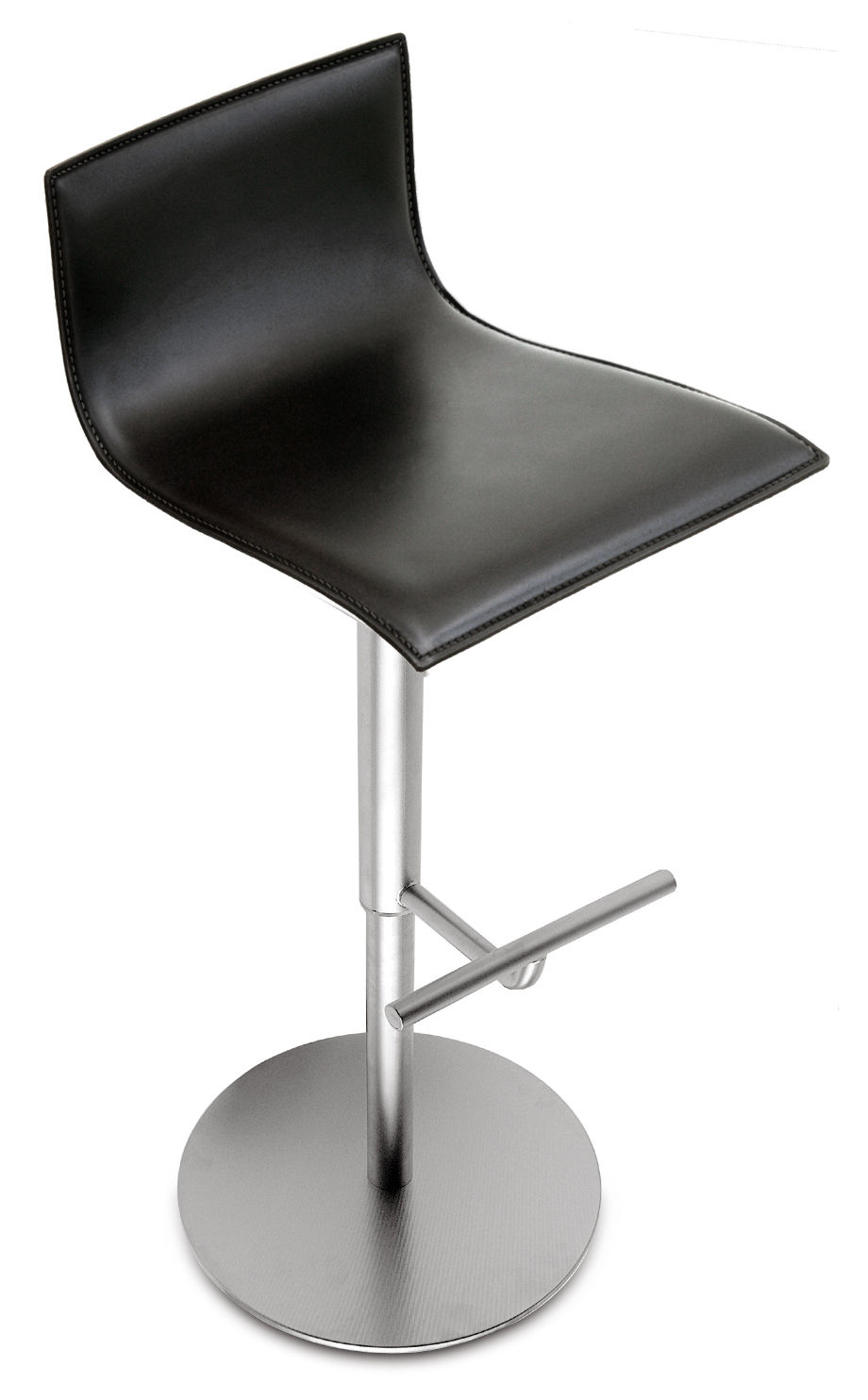Furniture - Bar Stools - Thin Adjustable bar stool - Pivoting leather seat by Lapalma - Black leather - Leather, Stainless steel