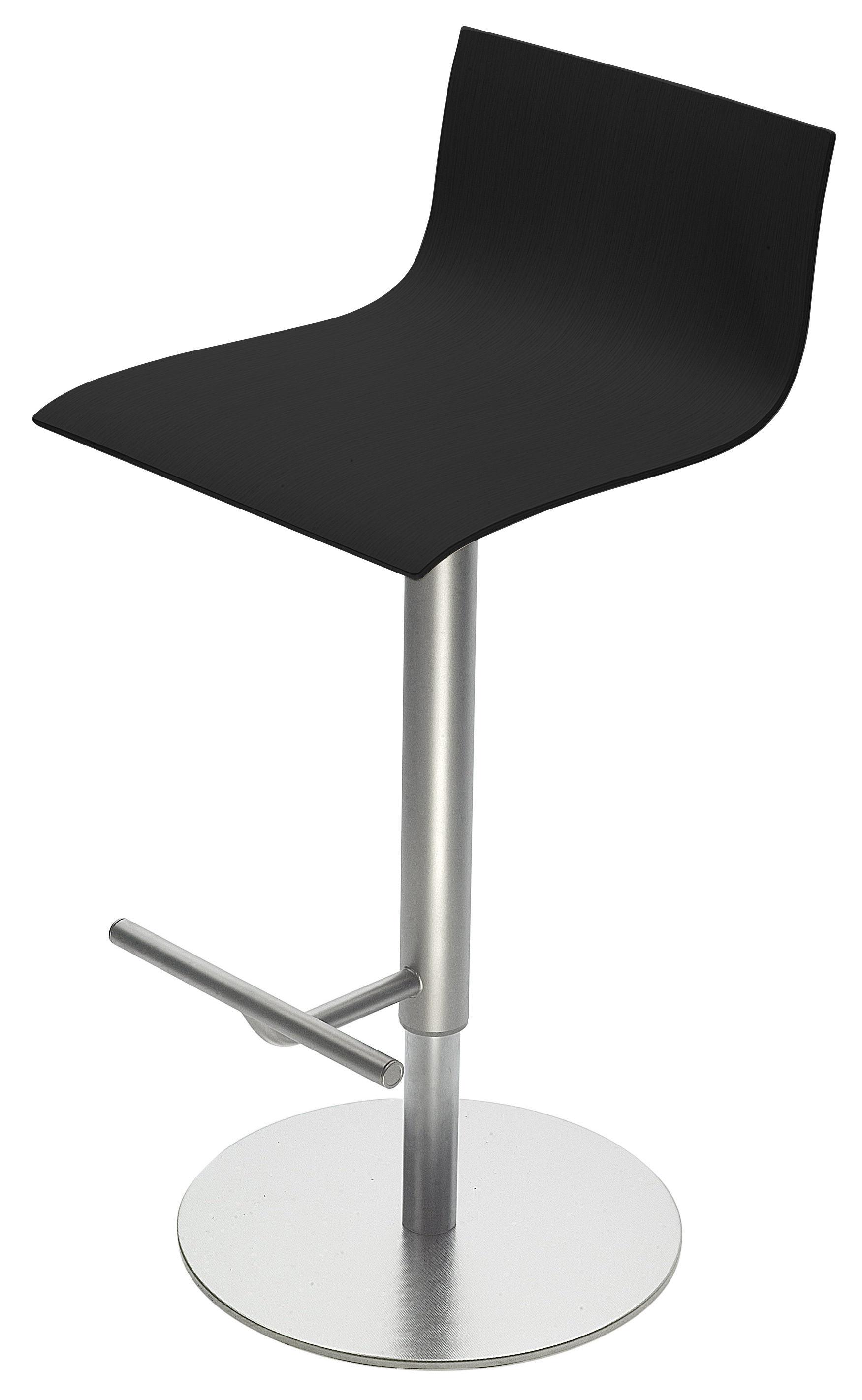 Furniture - Bar Stools - Thin Adjustable bar stool - Pivoting wood seat by Lapalma - Black oak - Oak plywood, Sandy steel