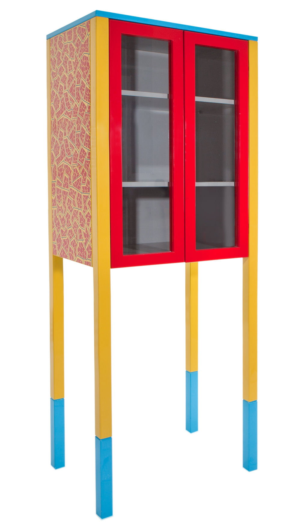 Arredamento - Raccoglitori - Armadietto D'Antibes - by George J. Sowden / 1981 di Memphis Milano - Giallo, rosso & blu - Legno laccato, Vetro