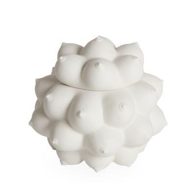 Decoration - Decorative Boxes - Georgia Box - / Porcelain - Breasts in relief by Jonathan Adler - White - China