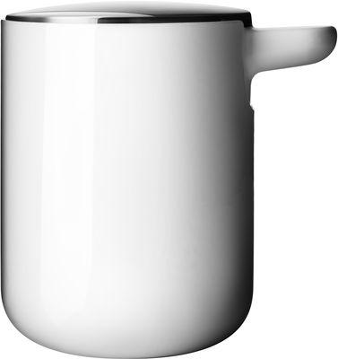 Déco - Salle de bains - Distributeur de savon - Menu - Blanc - Couvercle inox mat - Acier inoxydable, Plastique