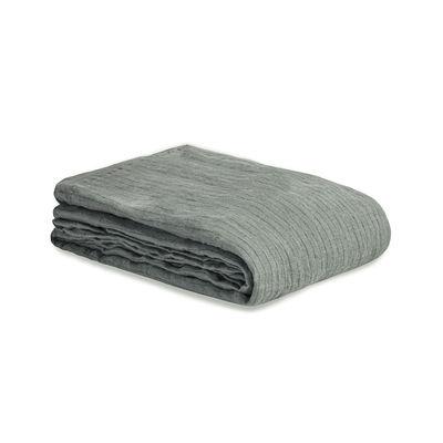 Decoration - Bedding & Bath Towels - Flat sheet 240 x 310 cm - / 240 x 310 cm - Washed linen by Au Printemps Paris - Striped khaki - washed linen
