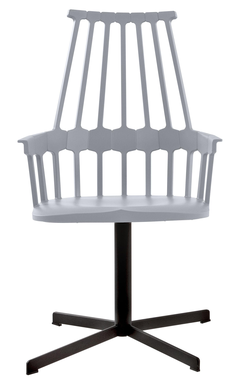 Möbel - Comback Drehsessel /Drehstuhl - Kartell - Himmelblau / Füße schwarz - Polykarbonat, Stahl