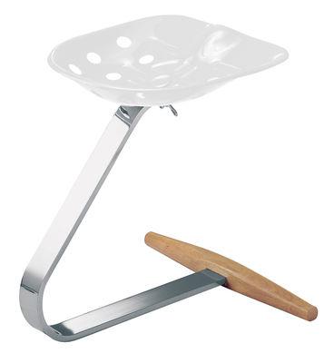 Möbel - Möbel für Teens - Mezzadro Hocker - Zanotta - Weiß - Buchenfurnier, Stahl