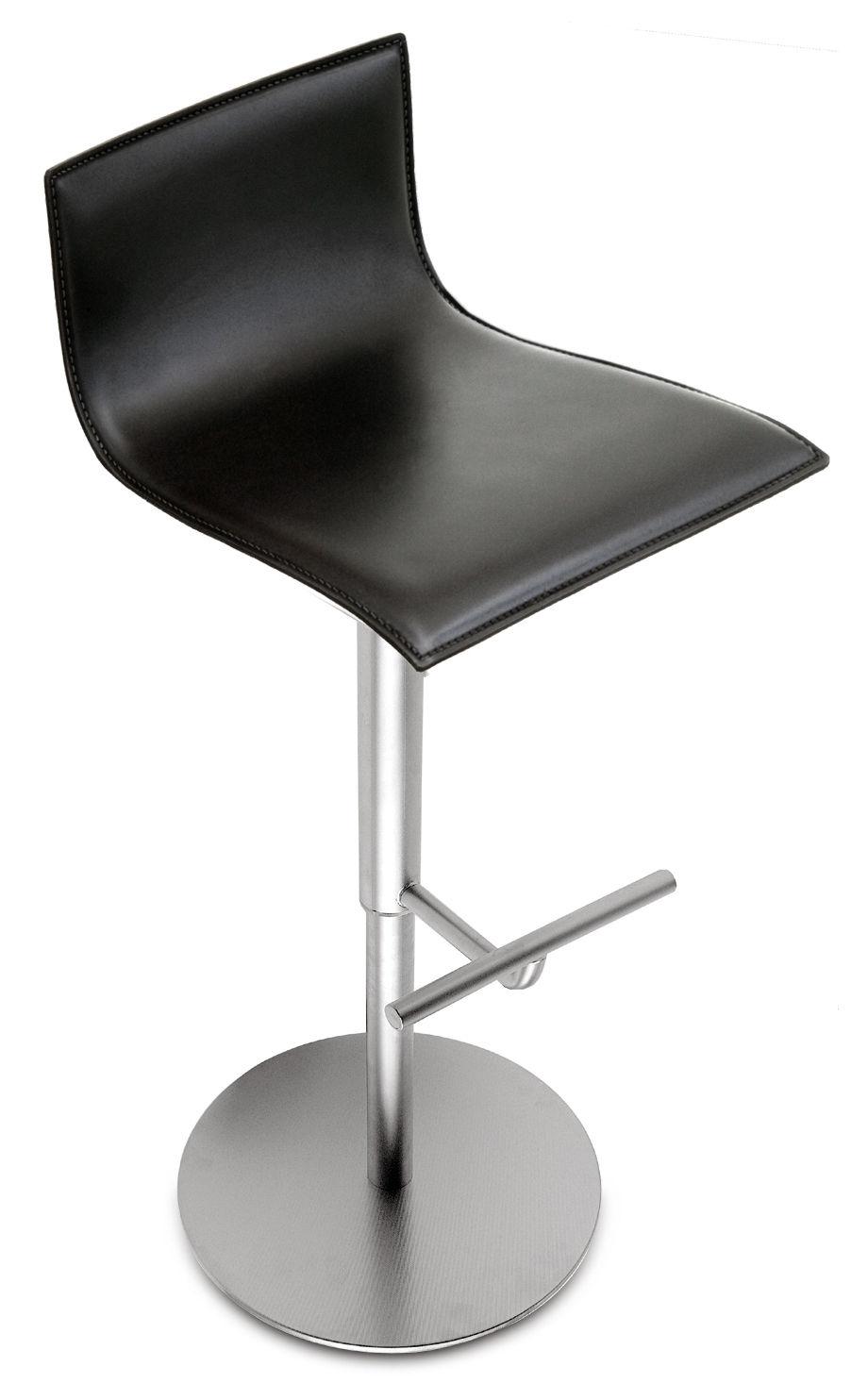 Möbel - Barhocker - Thin Höhenverstellbarer Barhocker - Lapalma - Leder schwarz - Leder, rostfreier Stahl
