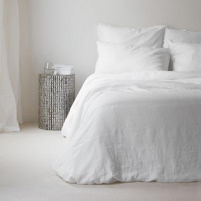 Housse de couette 240 x 220 cm / Lin lavé - Au Printemps Paris blanc en tissu