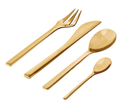 Tableware - Cutlery - Colombina Kitchen cupboard - / 24 piece cutlery box by Alessi - Brass - Stainless steel 18/10