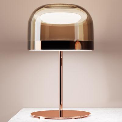 Luminaire - Lampes de table - Lampe de table Equatore Large / LED - Verre - H 60 cm - Fontana Arte - Cuivre & marron - Métal, Verre soufflé