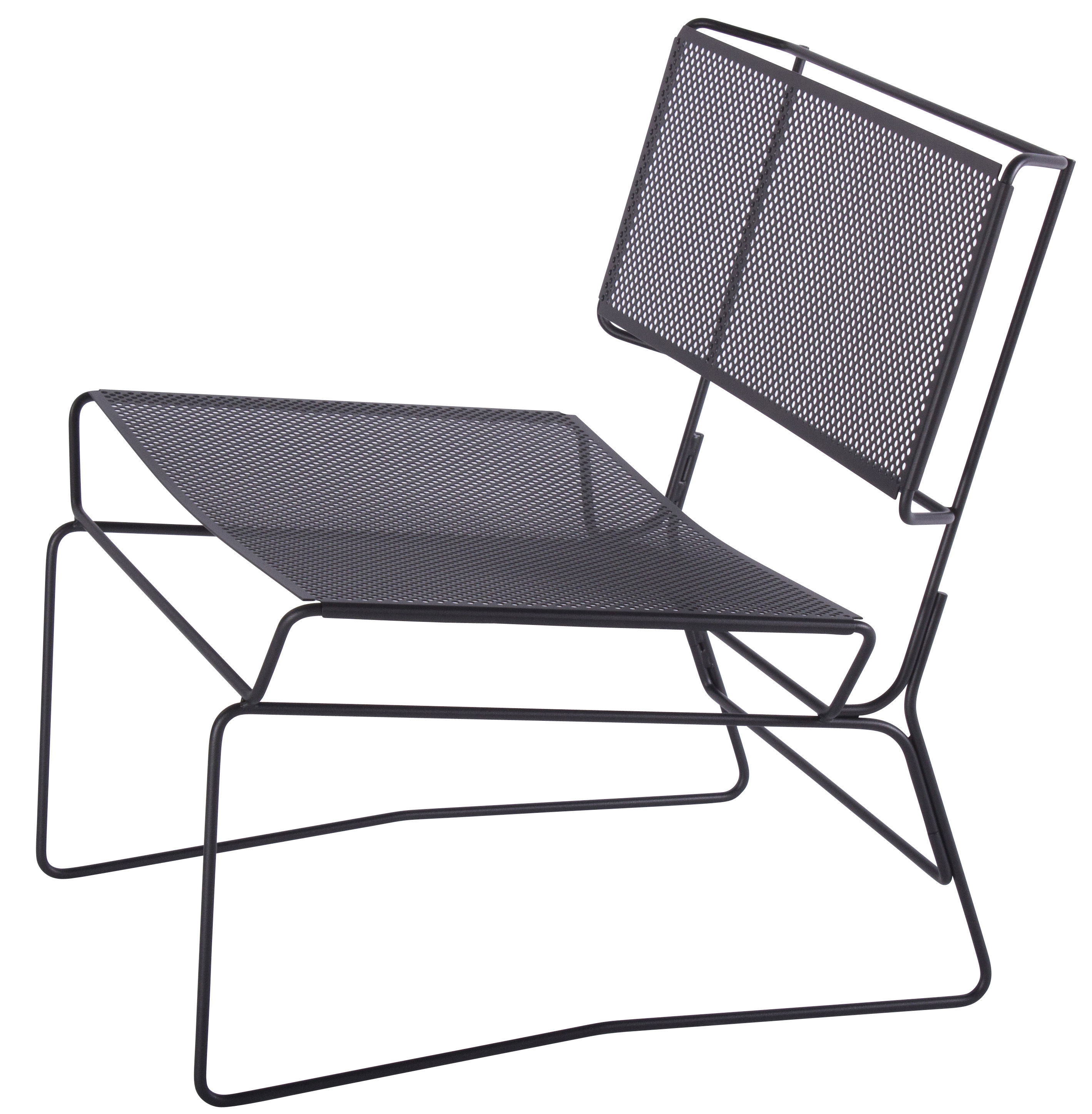 Furniture - Armchairs - Fil Low armchair by AA-New Design - Black - Epoxy lacquered steel