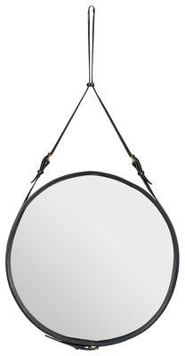 Miroir mural Adnet / Ø 70 cm - Réédition 50' - Gubi noir en cuir