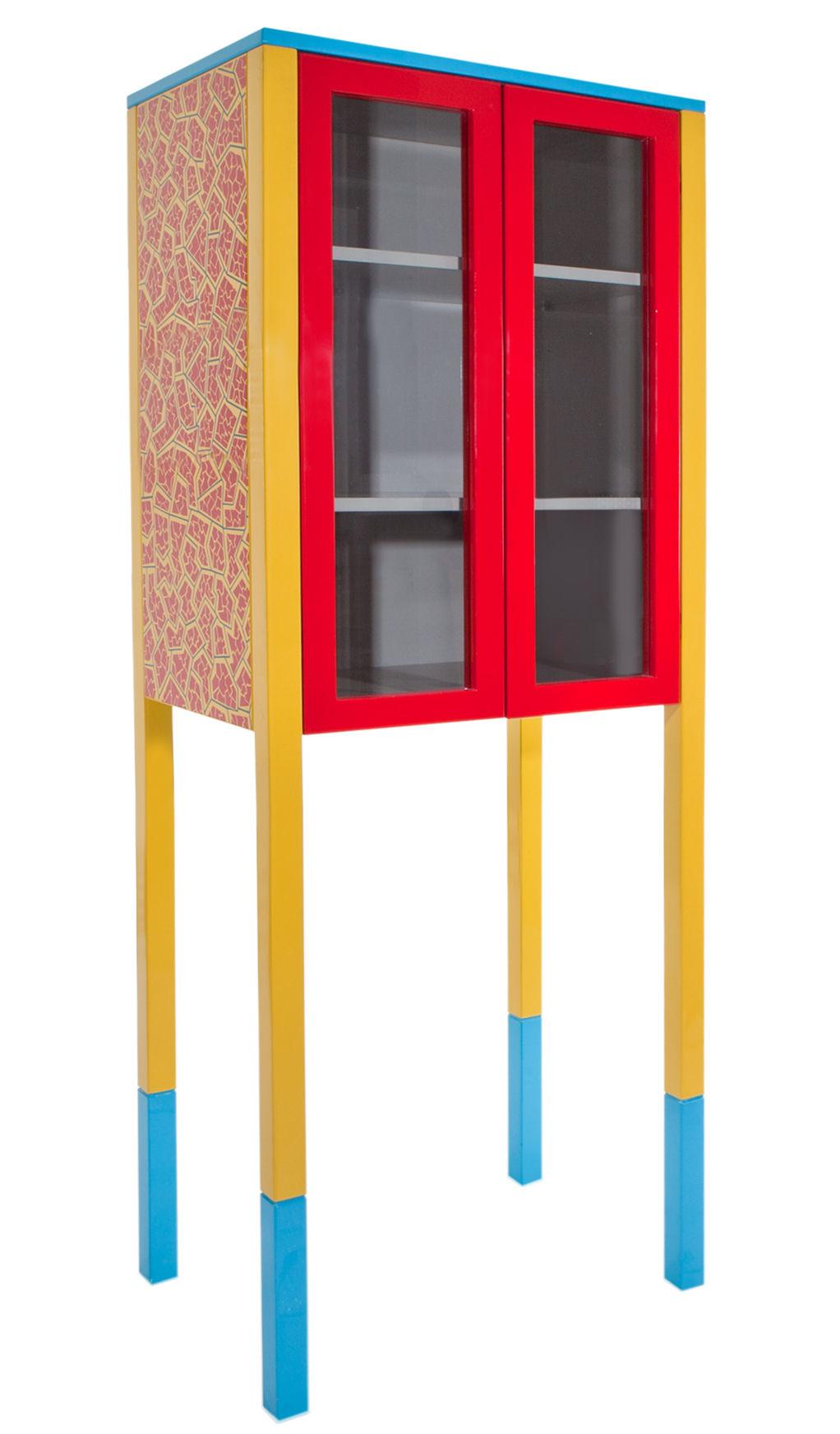 Möbel - Aufbewahrungsmöbel - D'Antibes Nachttisch von George J. Sowden / 1981 - Memphis Milano - Gelb, rot & blau - Glas, lackiertes Holz