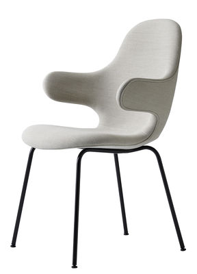 Furniture - Chairs - Catch JH15 Padded armchair - Kvadrat fabric & steel feet by &tradition - White / Feet : black stained steel - Kvadrat fabric, Painted steel, Polyurethane foam