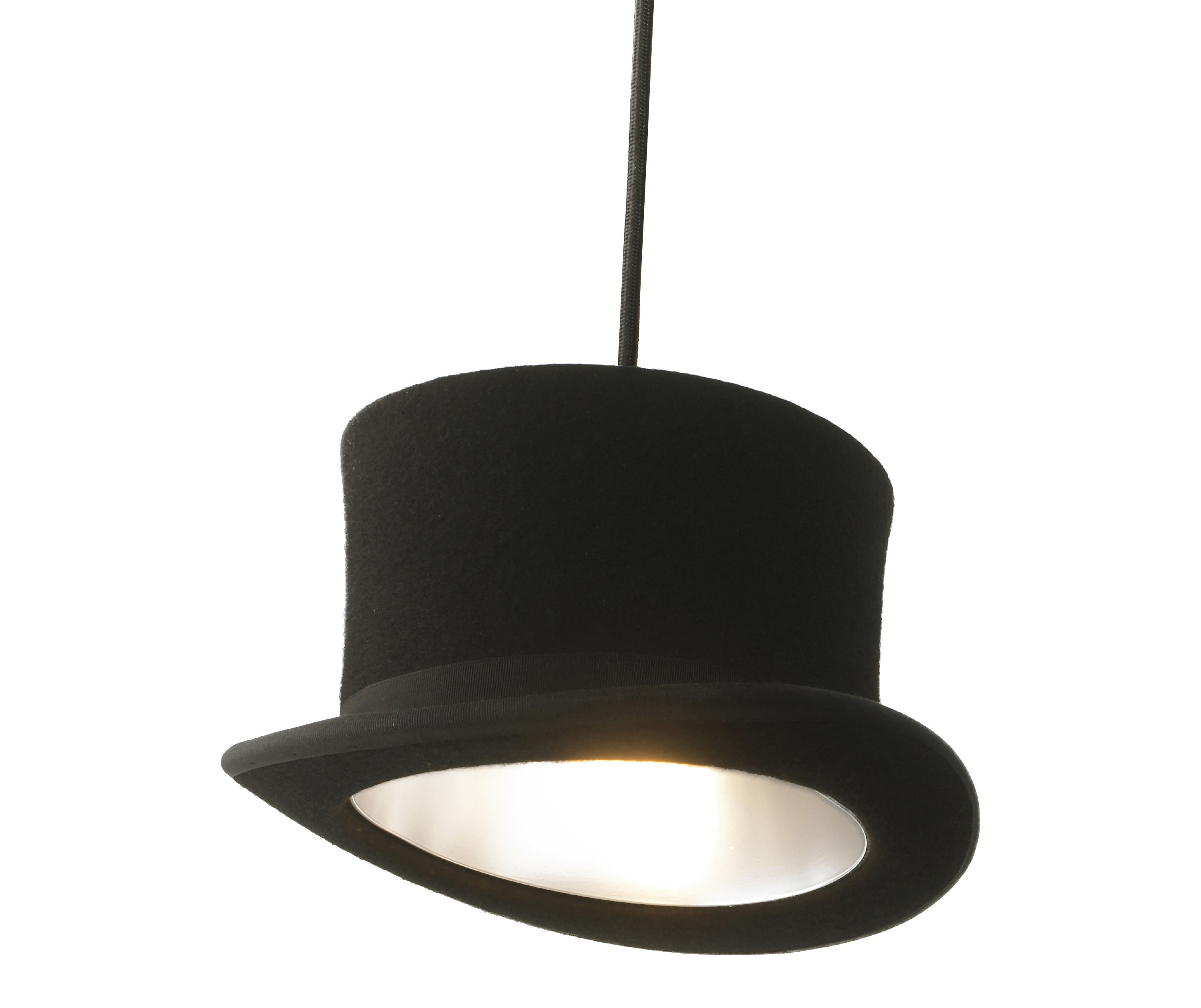 Leuchten - Pendelleuchten - Wooster Pendelleuchte / Zylinder - Innermost - Zylinder - schwarz / innen silberfarben - eloxiertes Aluminium, Wollfilz