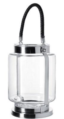 Déco - Bougeoirs, photophores - Photophore Taormina - Petit modèle H 22 cm - Leonardo - Petit modèle - Transparent / poignée noire - Verre