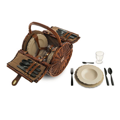 Tableware - Plates - Dressed en plein air Picnic set - / For 4 people - Wicker basket by Alessi - Brown wicker / Grey & black - Melamine, Thermoplastic resin, Wicker