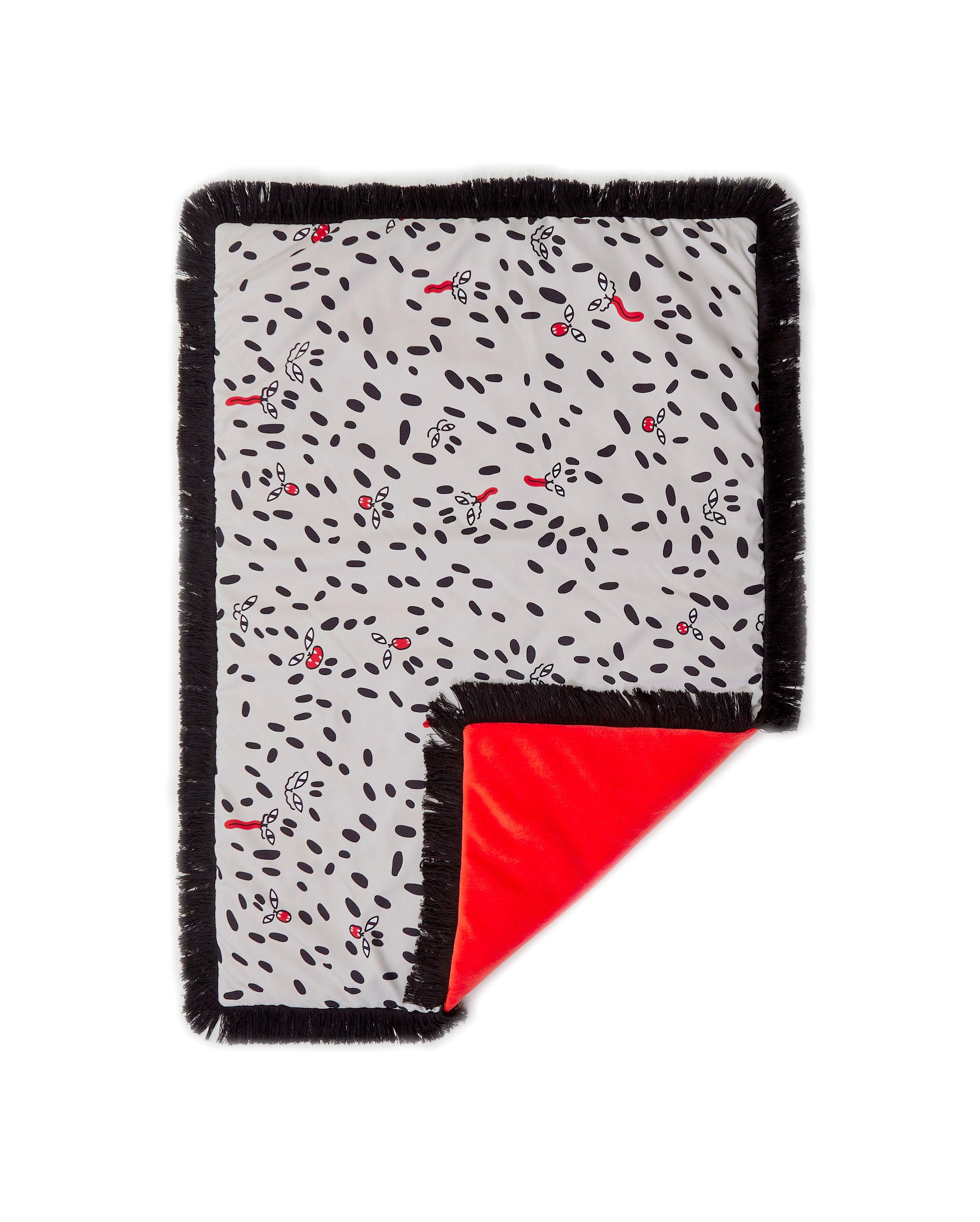 Interni - Tessili - Plaid imbottito Tapame Mucho Small - Wild Dots - / 140 x 90 cm di Sancal - Wild Dots / Nero & beige - Fibra sintetica, Pelliccia sintetica, Poliestere