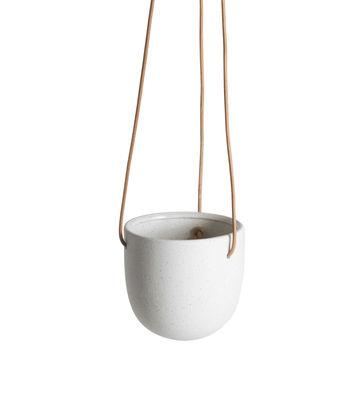 Déco - Pots et plantes - Pot suspendu Socoa / Grès - Ø 11,5 x H 12 cm - ENOstudio - Blanc / Cuir naturel - Cuir, Grès