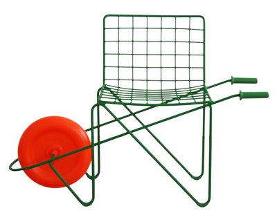 Arredamento - Mobili per bambini - Sedia bambino Trotter / Con ruote - Magis Collection Me Too - Verde / Ruote arancione - Acciaio, Polipropilene