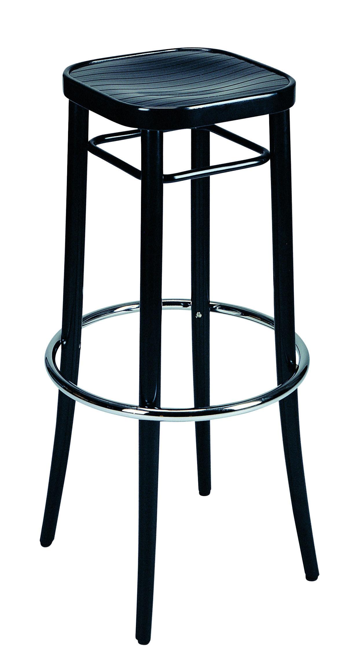 Arredamento - Sgabelli da bar  - Sgabello alto Vienna 144 - / H 85 cm - Riedizione 1908 di Wiener GTV Design - Seduta nera  / Struttura nera - Compensato di faggio, Faggio massello curvato, Metallo cromato