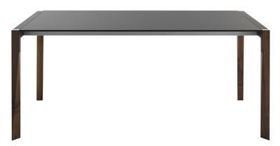 Tendances - Espace Repas - Table à rallonge Tango / L 125 à 205 cm - Plateau Fenix-NTM® - Horm - Noir / Pieds noyer - Métal laqué, Noyer massif, Thermo-stratifié Fenix-NTM®