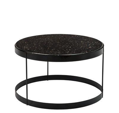 Table basse Drum / Plateau quartz - Ø 60 cm - Bolia noir en métal