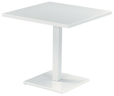 Table carrée Round / 80 x 80 cm - Emu blanc en métal