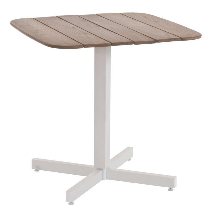 Outdoor - Tables de jardin - Table carrée Shine / 79 x 79 cm - Emu - Blanc / Plateau teck - Aluminium verni, Teck