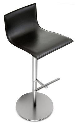 Tabouret haut réglable Thin /Assise cuir pivotante - Lapalma noir en métal/cuir/bois