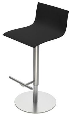 Tabouret haut réglable Thin /Assise bois pivotante - Lapalma noir en métal/bois