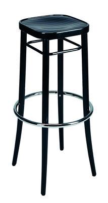 Mobilier - Tabourets de bar - Tabouret haut Vienna 144 / H 85 cm - Réédition 1908 - Wiener GTV Design - Assise noire  / Strcuture noire - Contreplaqué de hêtre, Hêtre massif cintré, Métal chromé