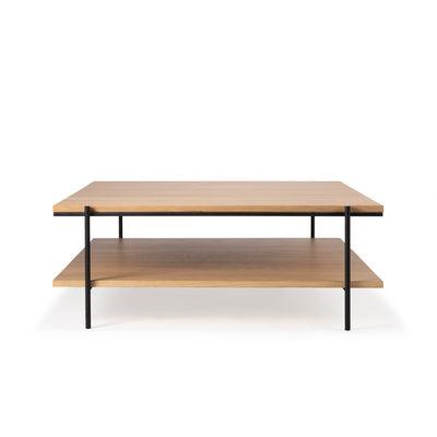 Arredamento - Tavolini  - Tavolino Rise - / Quadrato - 100 x 100 cm di Ethnicraft - Rovere & nero - metallo verniciato, Rovere massello