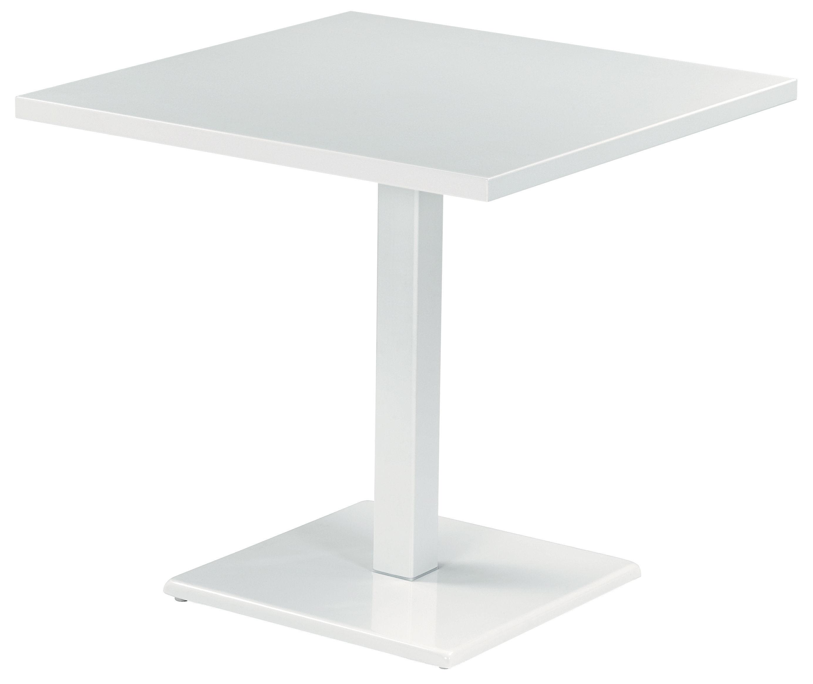 Outdoor - Tavoli  - Tavolo quadrato Round - 80 x 80 cm di Emu - Bianco - Acciaio