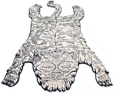 Tiger Teppich groß / 240 x 125 cm - Moustache - Weiß,Dunkelblau