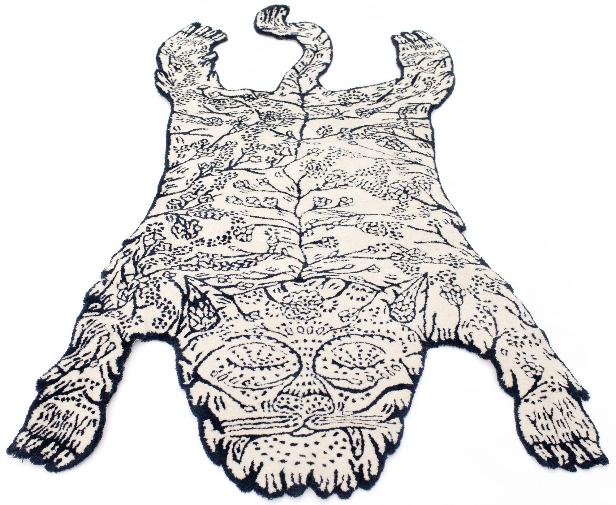 Dekoration - Teppiche - Tiger Teppich groß / 240 x 125 cm - Moustache - 240 x 125 cm / dunkelblau & weiß - Wolle