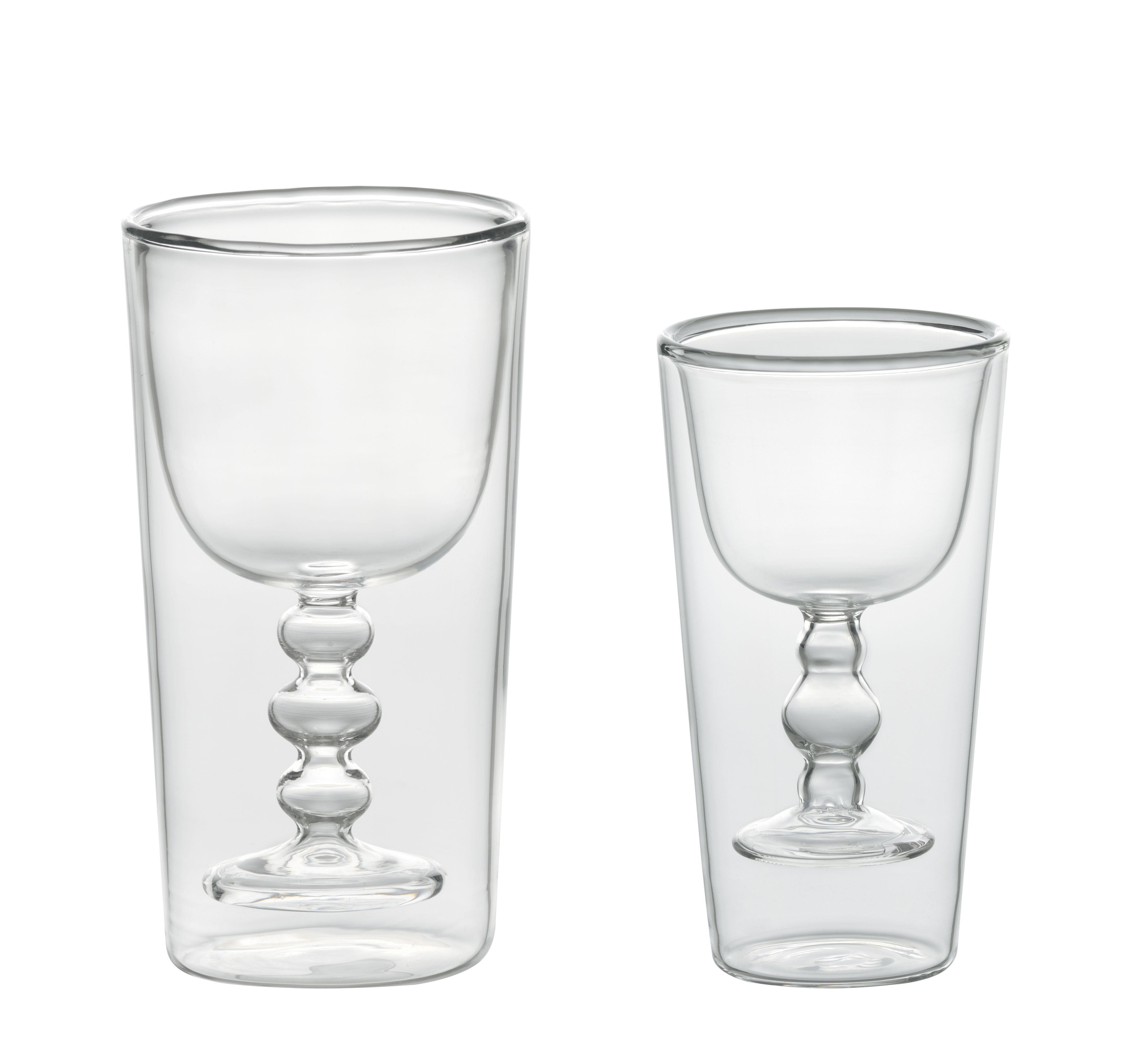Arts de la table - Verres  - Verre Cocktail / Set 2 verres : eau + vin - Bitossi Home - Transparent - Verre soufflé