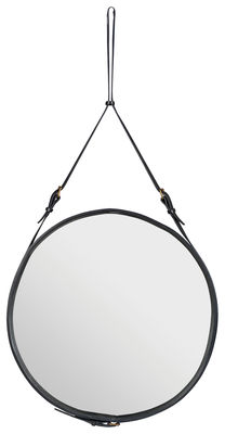 Furniture - Mirrors - Adnet Wall mirror - Ø 70 cm by Gubi - Black - Leather