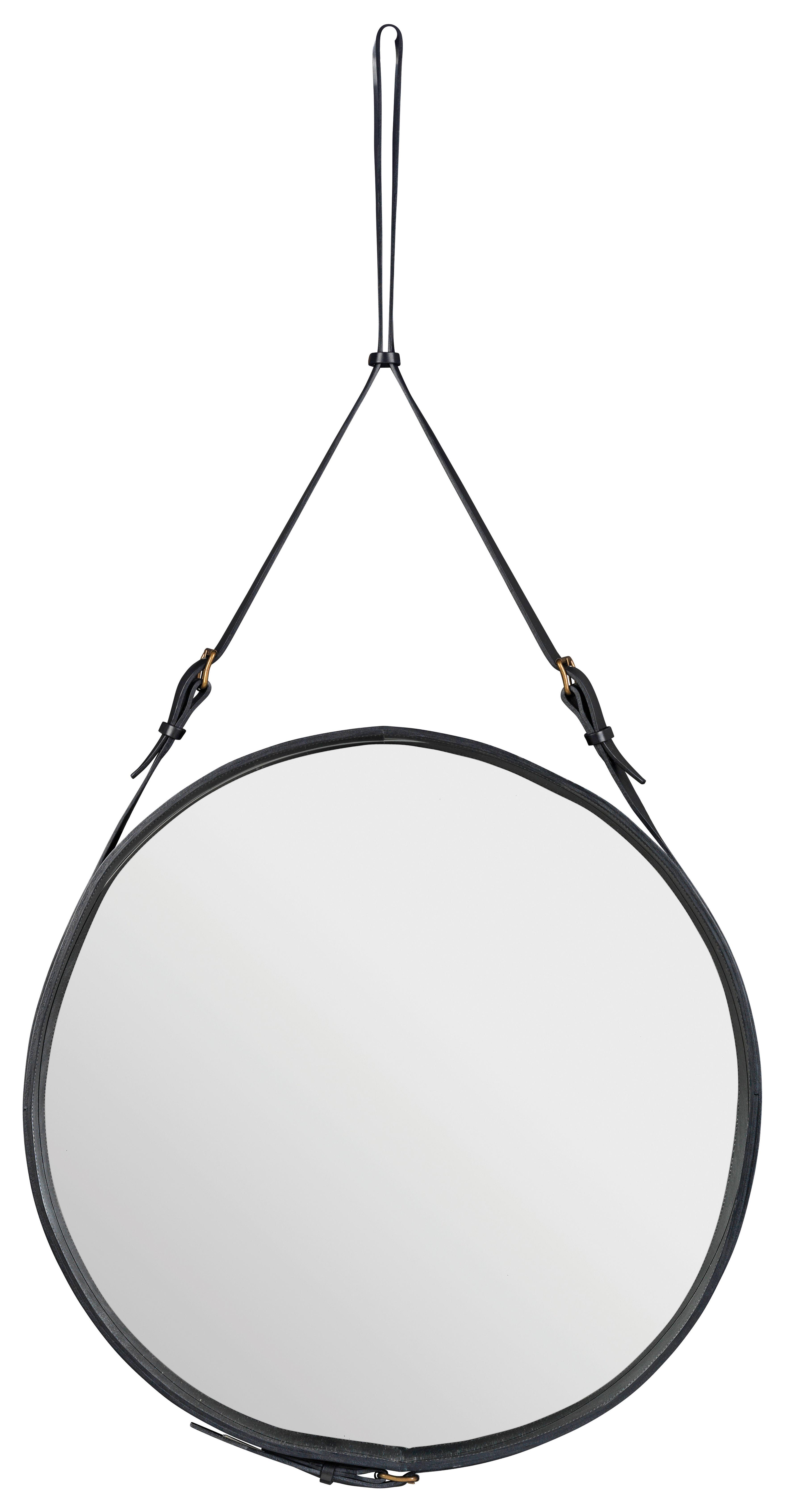 Furniture - Mirrors - Adnet Wall mirror - Ø 70 cm by Gubi - Black - Leather
