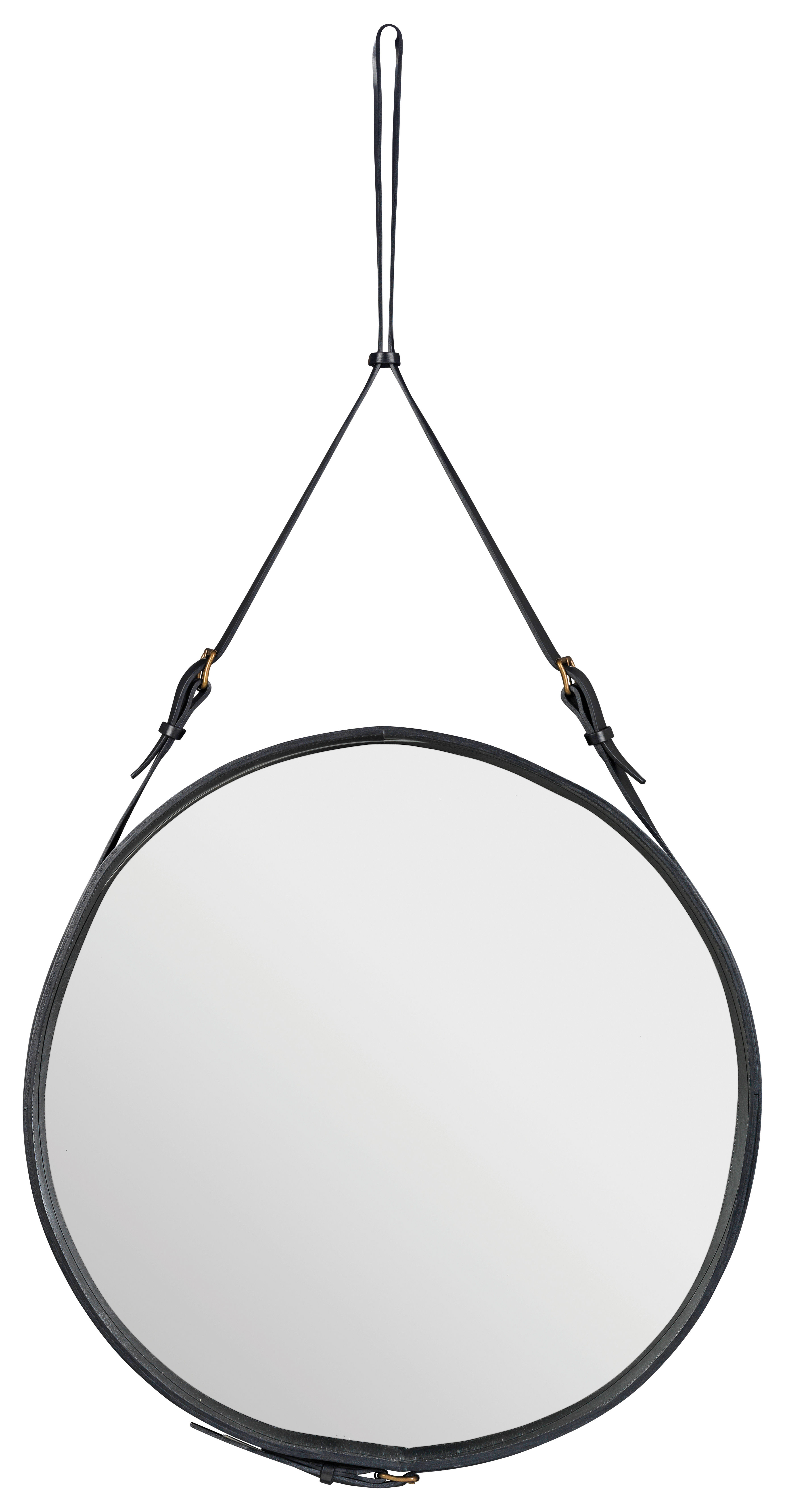 Möbel - Spiegel - Adnet Wandspiegel Ø 70 cm - Gubi - Schwarz - Leder