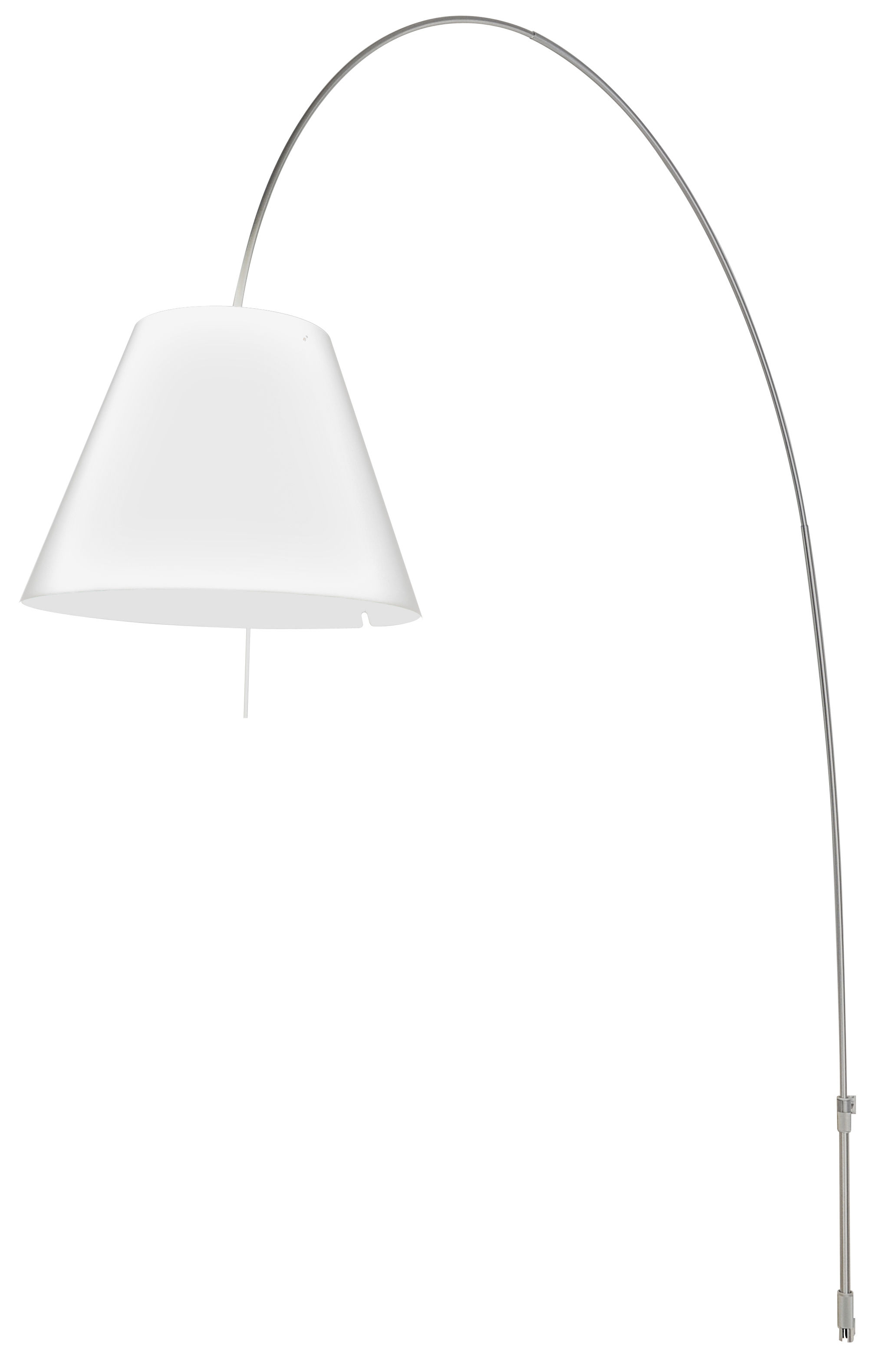 Luminaire - Lampadaires - Applique avec prise Lady Costanza / Fixation murale - Luceplan - Abat-jour blanc / Aluminium - Aluminium, Polycarbonate