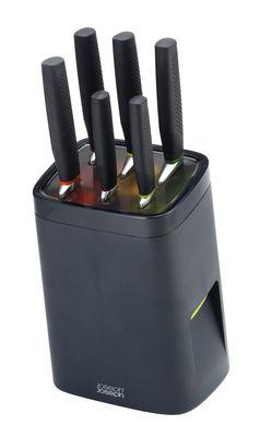 Cuisine - Couteaux de cuisine - Bloc à couteaux LockBlock / Sécurité enfants - 6 couteaux inclus - Joseph Joseph - Noir - Acier inoxydable, Caoutchouc, Matière plastique