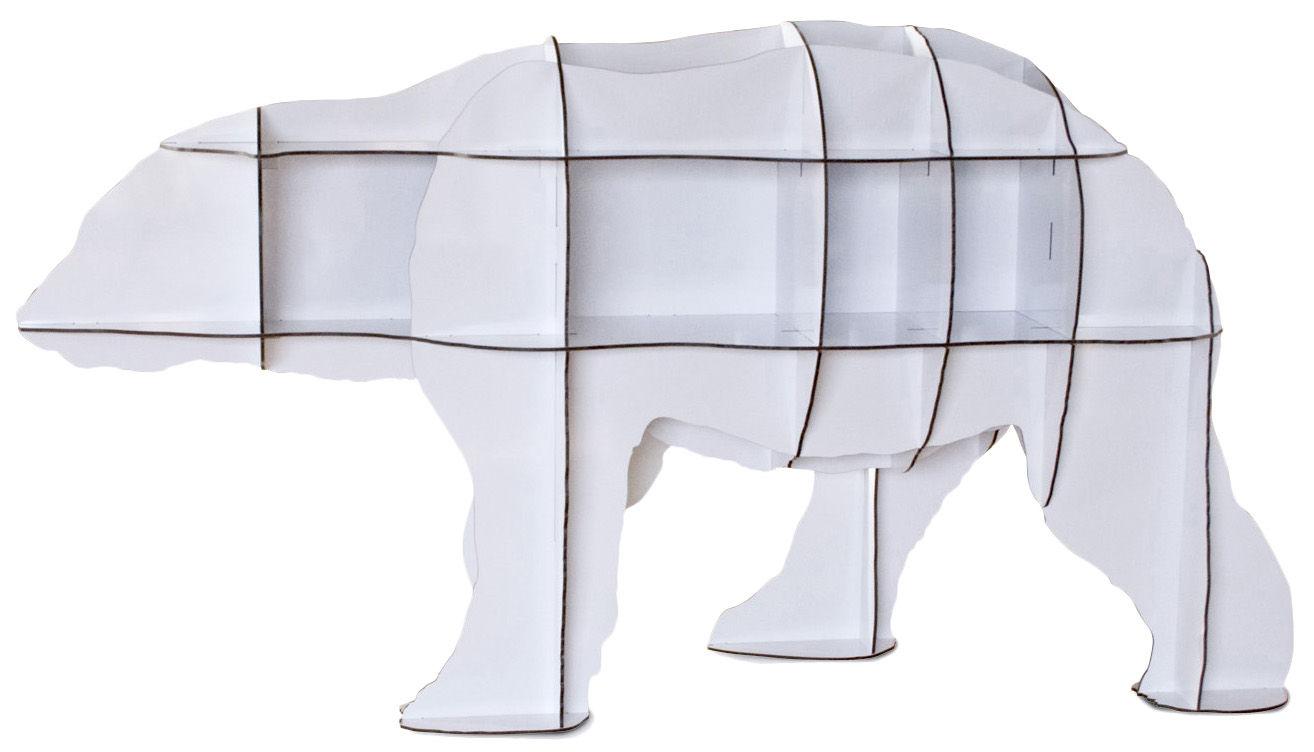 Möbel - Regale und Bücherregale - Junior Bücherregal H 95 cm - Ibride - Weiß glänzend - kompakte Press-Spanplatte