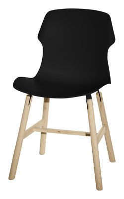 Furniture - Chairs - Stereo wood Chair - Polypropylene & wood legs by Casamania - Black - Polypropylene, Solid wood